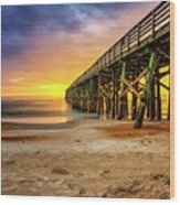 Flagler Beach Pier At Sunrise In Hdr Wood Print