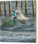 Flagler Beach Surf Day Wood Print