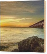 Flagler Bridge At Sunset Wood Print