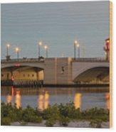 Flagler Bridge In Lights IIi Wood Print