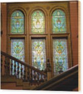 Flagler College Stained Glass Wood Print