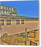 Flagler Pier Postcard Wood Print by Andrew Armstrong  -  Mad Lab Images