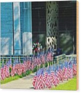 Flags Along The Walkway Wood Print