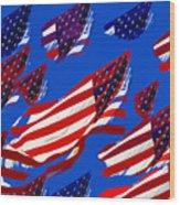 Flags American Wood Print