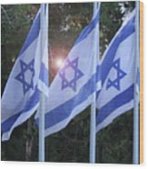 Flags Of Israel Blowing In The Wind Wood Print