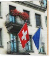 Flags Of Switzerland And Zurich Wood Print