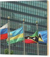 Flags Of Various Nations Outside The United Nations Building. Wood Print