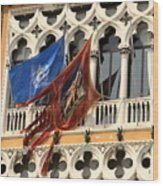 Flags On Palazzo In Venice Wood Print