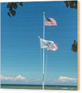 Flags On The Shoreline Wood Print