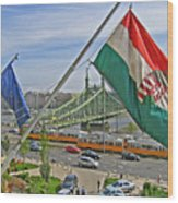 Flags Over Budapest Wood Print
