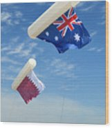 Flags Over Doha For The Asian Cup Wood Print