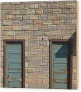 Flagstone Wall And Two Green Doors Wood Print