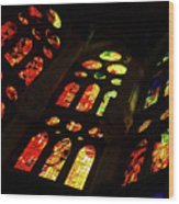 Flamboyant Stained Glass Window Wood Print