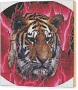 Flame Tiger Wood Print