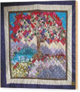 Flame Tree Quilted Wallhanging Wood Print by Sarah Hornsby