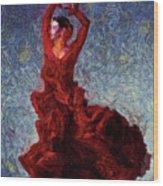 Flamenco Senorita Fuerza Wood Print