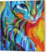 Flaming Blue And Orange Kitty Cat Tiger Resting Gently From The Prowl Wood Print