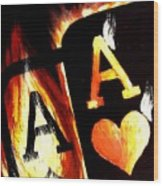 Flaming Bullets Pocket Aces Poker Art Wood Print