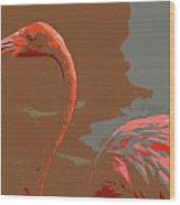 Flaming Flamingo-d  Wood Print