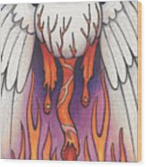 Flaming Flying Eyeball Wood Print