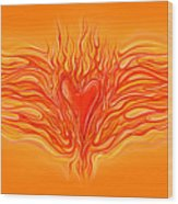 Flaming Heart Wood Print by David Kyte