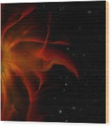 Flaming Sun  Wood Print
