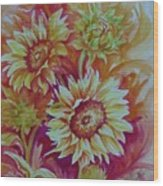 Flaming Sunflowers Wood Print