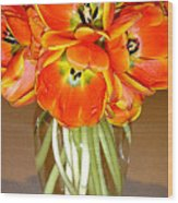 Flaming Tulips In A Vase Wood Print