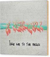 Flamingo Art II Wood Print