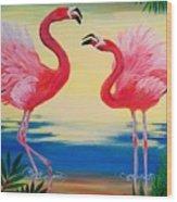 Flamingo Courtship Dance Wood Print