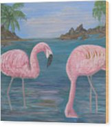 Flamingo Cove Wood Print