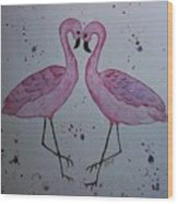 Flamingo Dance Wood Print by Ginny Youngblood