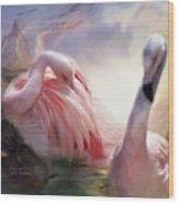 Flamingo Dawn Wood Print