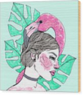 Flamingo Girl Wood Print