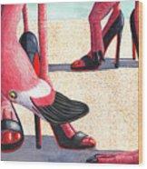 Flamingo Heels Wood Print