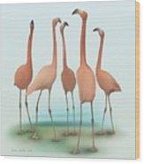 Flamingo Mingle Wood Print