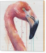 Flamingo Painting Watercolor - Facing Right Wood Print