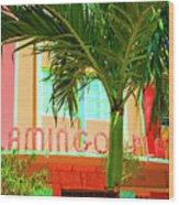 Flamingo Plaza Wood Print