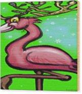 Flamingo Reindeer Wood Print