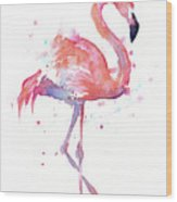 Flamingo Watercolor Facing Right Wood Print
