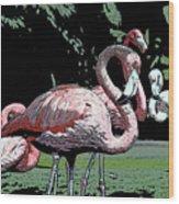Flamingos I Wood Print