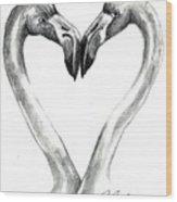 Flamingos In Love Wood Print