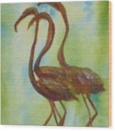 Flamingos In Vail Wood Print