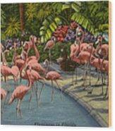 Flamingos Vintage Postcard Wood Print