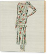 Flapper In An Afternoon Dress Wood Print
