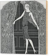 Flapper Opening A Curtain Wood Print
