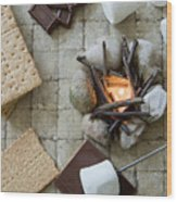 Flat Lay Camp Fire S'mores Deconstructed Wood Print