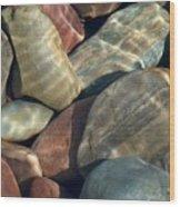 Flathead River Rocks Wood Print