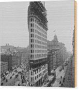 Flatiron Building During Construction Wood Print
