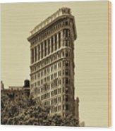 Flatiron Building In Sepia Wood Print